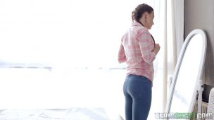 Older mom with round ass jumps on cock son
