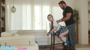 Muscular Guy Tied Up and Fucked Blonde Girl