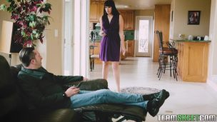 Horny Woman Gives Her Boyfriend On Leather Sofa